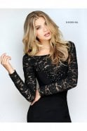 Sherri Hill Black 51128 Lace and Jersey Fitted Long Sleeve Dress