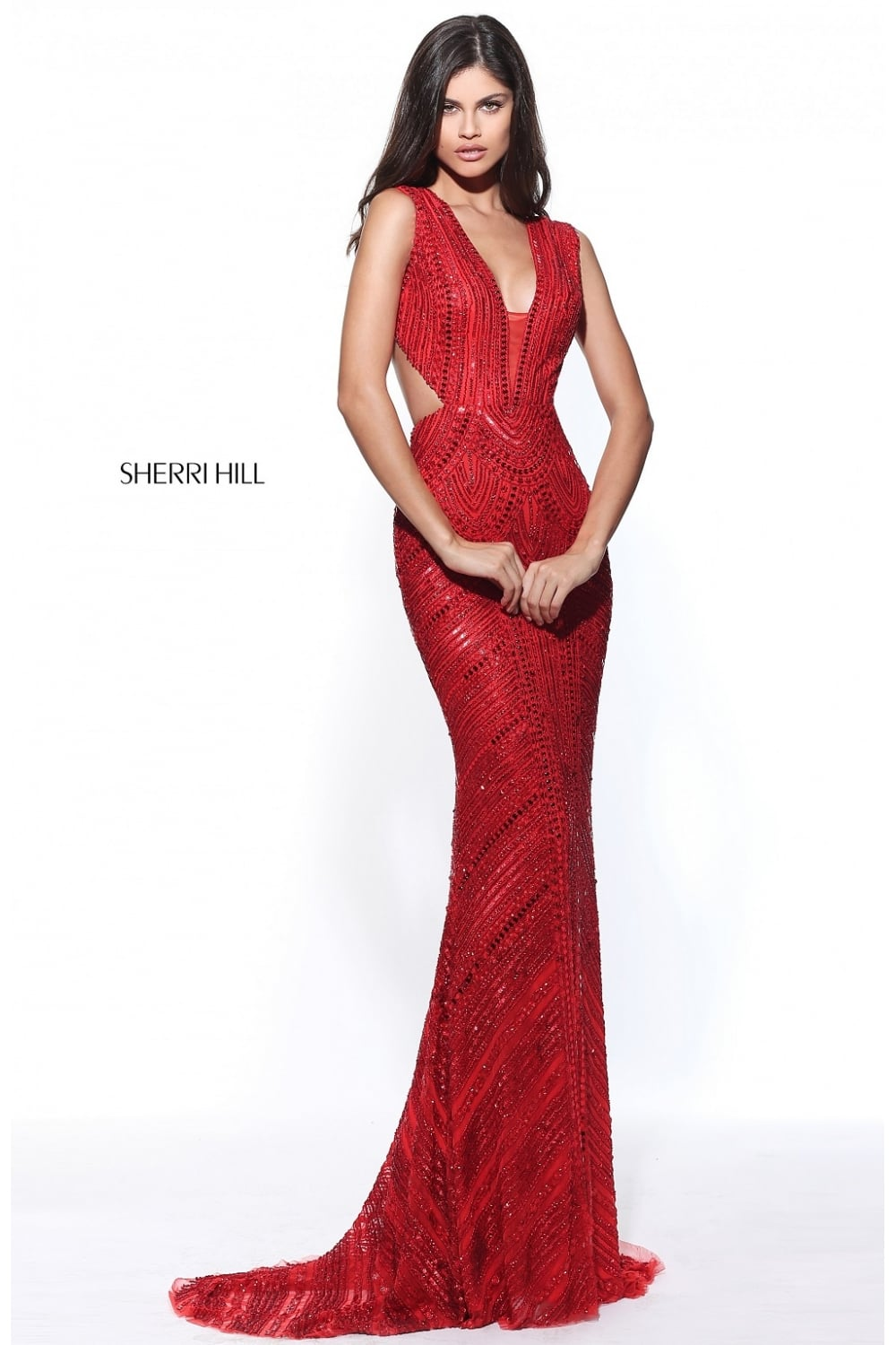 Red open back prom dresses 2018
