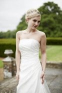 Tiffanys Alice Ivory Strapless Wedding Gown with train