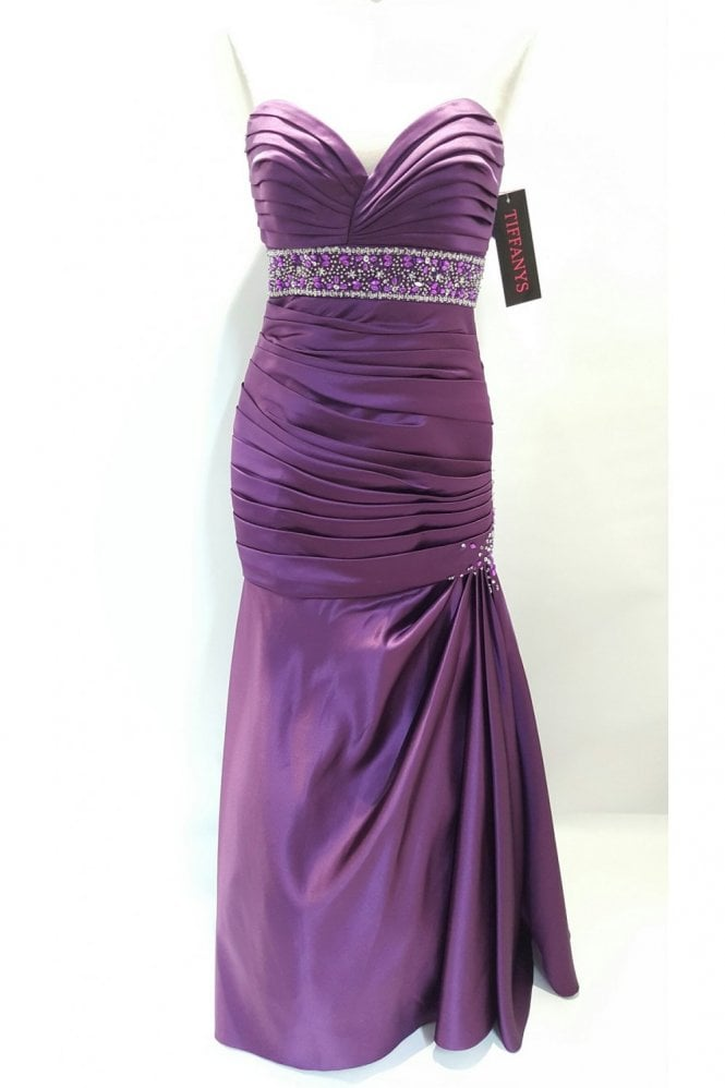 Tiffanys Alison Eggplant Purple Strapless Evening Dress
