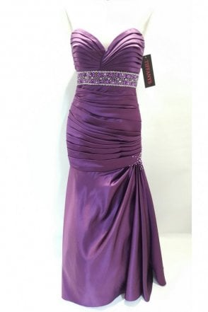 Alison Eggplant Purple Strapless Evening Dress