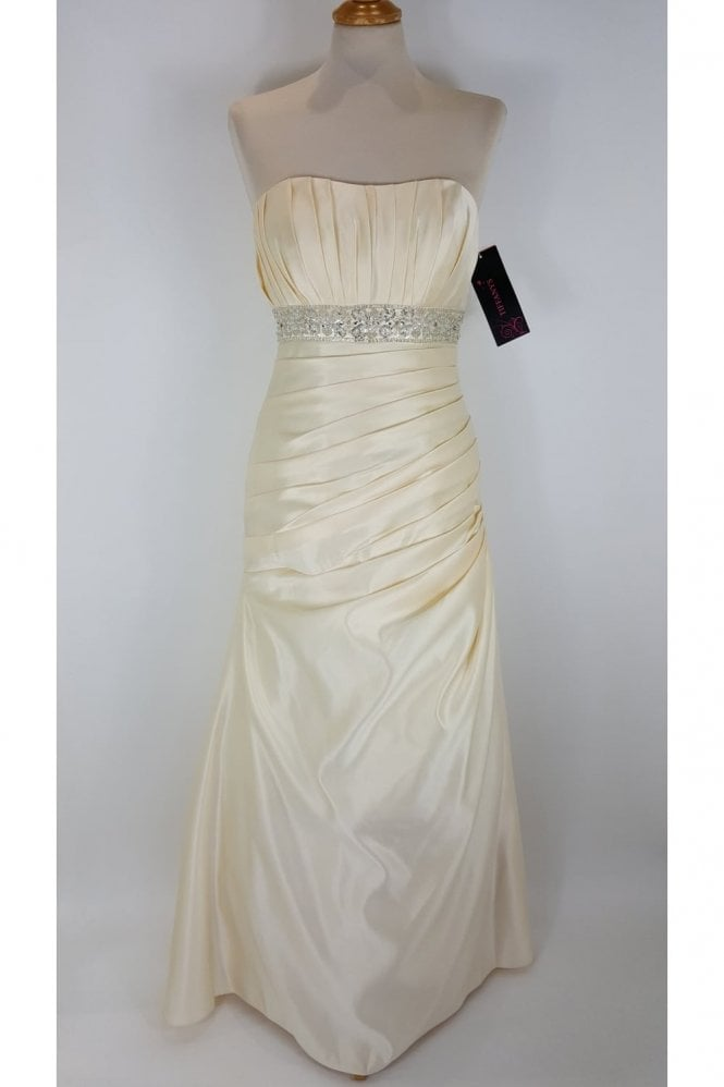 Tiffanys Annekin Strapless Satin Wedding Dress in Champagne