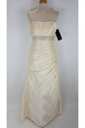 Annekin Strapless Satin Wedding Dress in Champagne