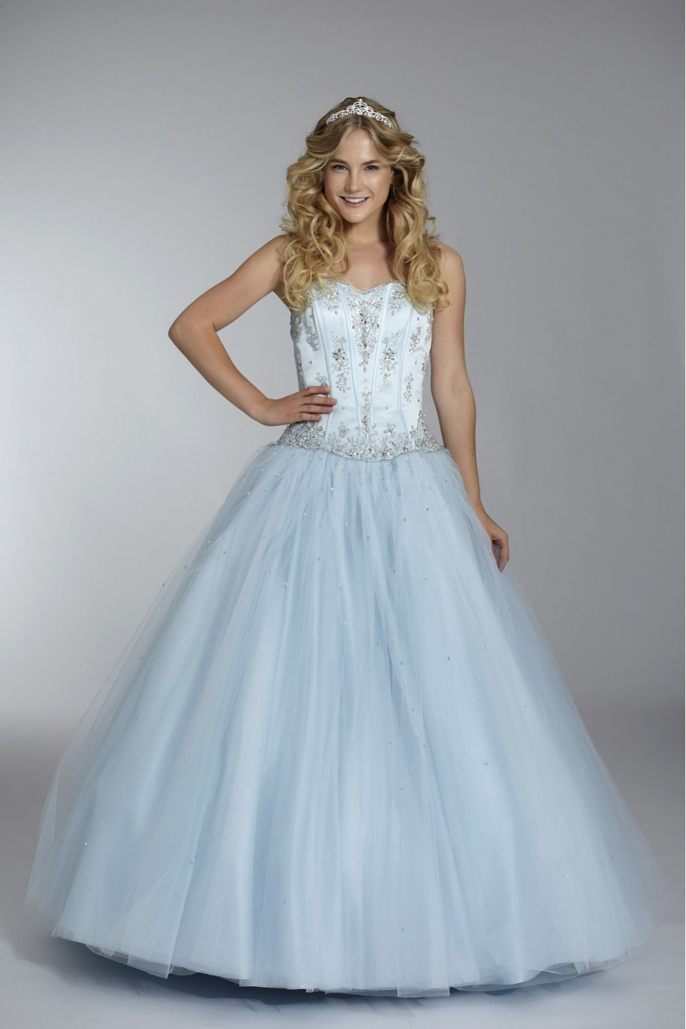 Tiffanys Carly Jane Netted Prom Dress In Ice Blue