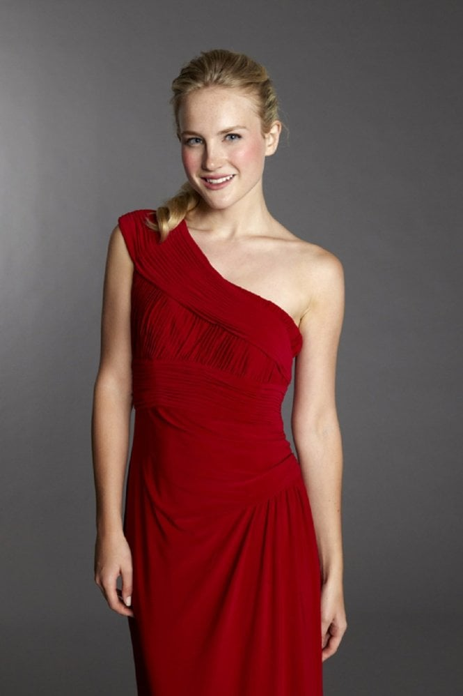 Tiffanys Charlotte One Shoulder Jersey Dress in Red