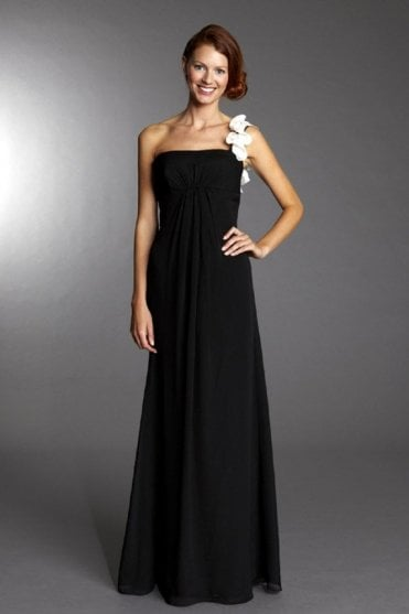 Elvira Black & White Chiffon Evening Dress