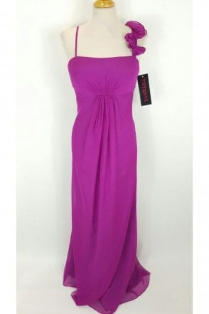 Elvira Magenta Chiffon Long Evening Dress