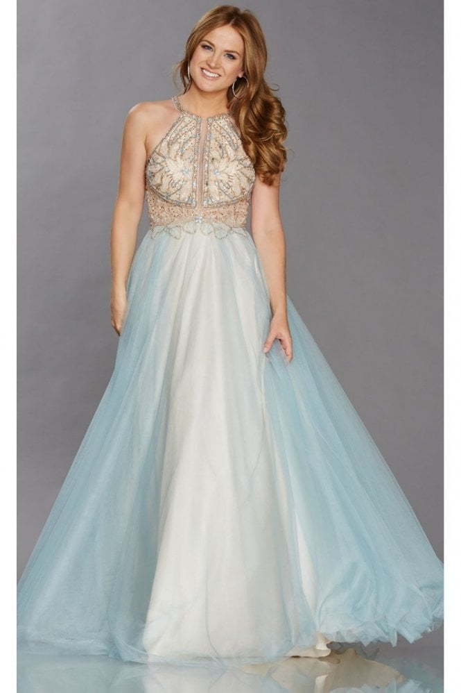 Tiffanys Illusion Prom Aqua/Gold Nicola Net Overlay Beaded Bodice Gown