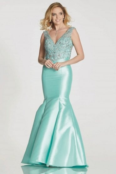 Aqua Tamzen fitted fishtail dress with jewelled bodice