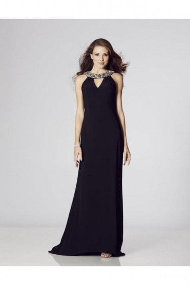 Atlanta Navy Jersey Halterneck Long Dress