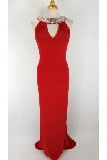 Atlanta Red Jersey Halterneck Long Dress