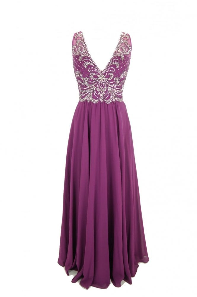 Tiffanys Illusion Prom Berry Clarissa chiffon evening dress