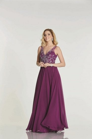 Berry Clarissa chiffon evening dress