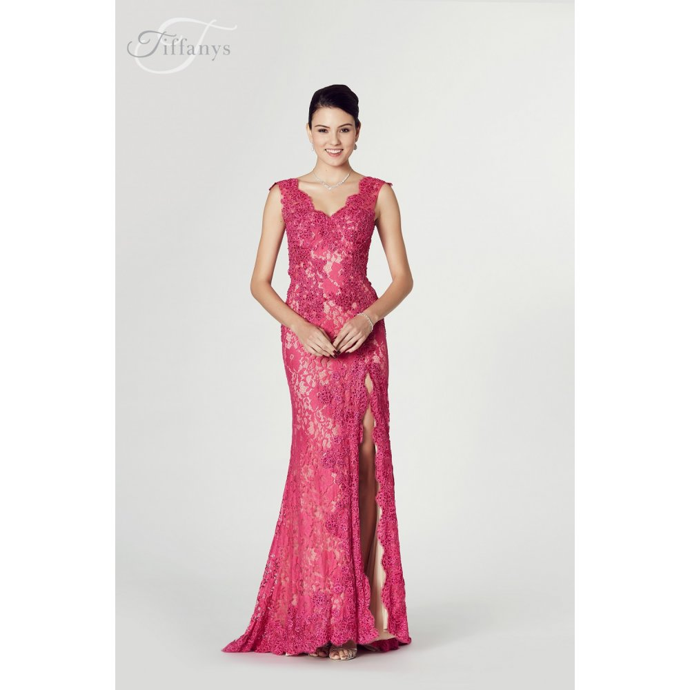 Tiffanys Illusion Prom Judith Fitted Beaded Lace Gown In Berry