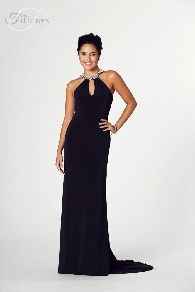 Tiffanys Illusion Prom Black Abbie Jersey Long Prom Dress