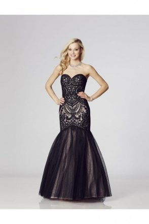 Black Blondie Lace Net Fishtail Dress