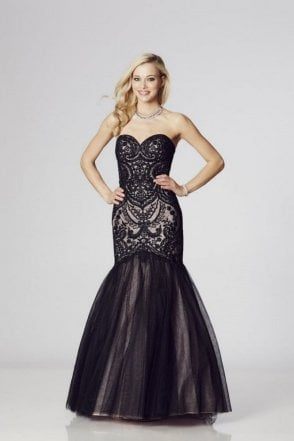 Black Blondie Lace Net Fishtail Gown