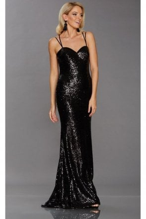 Black Cali Sequinned Sweetheart Dress