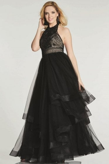 Black Dakota low back full tulle skirt dress
