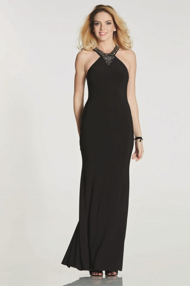 Tiffanys Illusion Prom Black Gemma high neck fitted dress with pewter stones