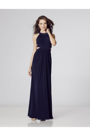 Black Hillary Open Back Cut Away Side Dress
