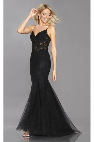 Black Jojo lace and tulle net fishtail dress