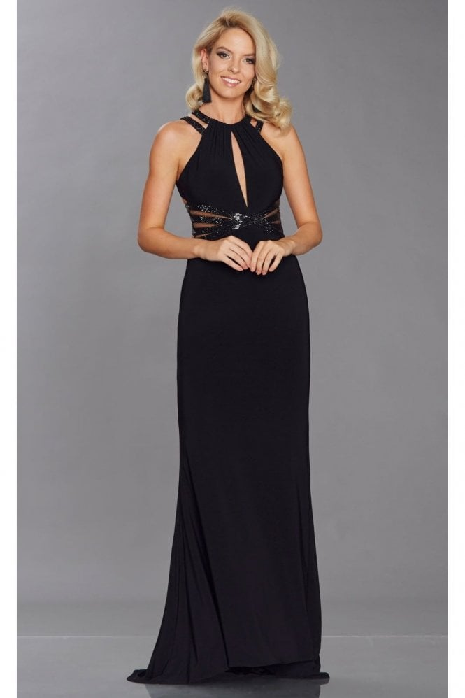 Tiffanys Illusion Prom Black Kenzy Halterneck bead and mesh dress
