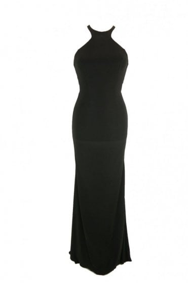 Black Luna long jersey halter neck tie back dress