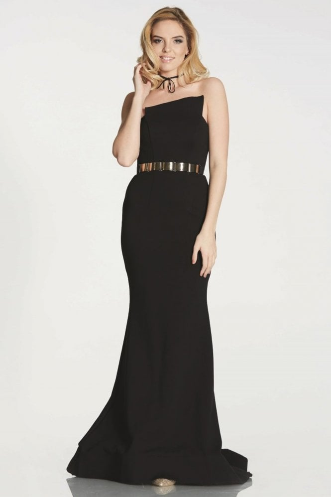 Tiffanys Illusion Prom Black Margot strapless asymmetric neckline dress