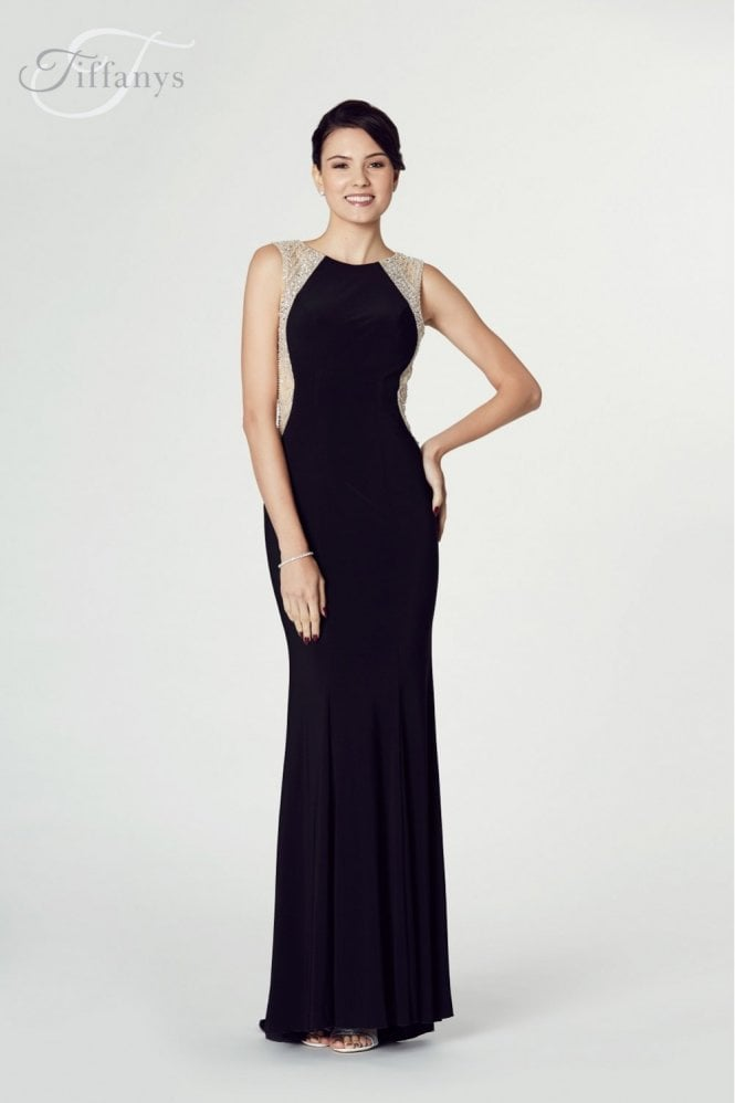 Tiffanys Illusion Prom Black Mila Jersey Open Back Gown