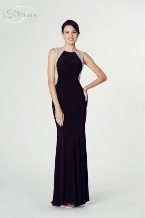 Black Mila Jersey Open Back Gown