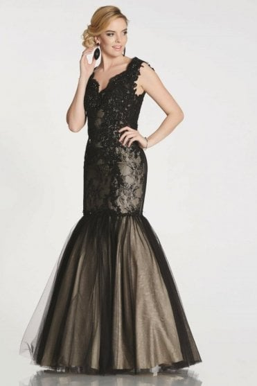 Black Nina embroidery detail mermaid style gown
