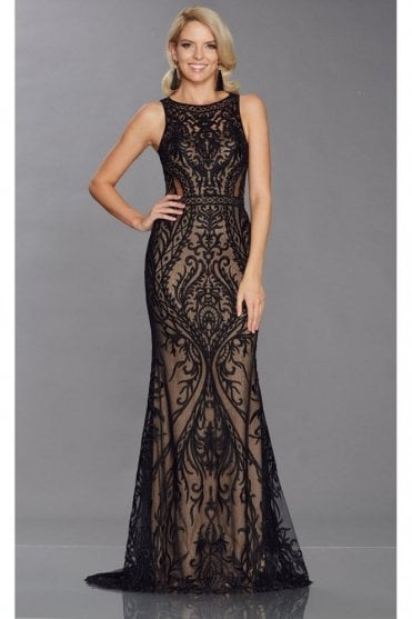 Black Nyla Tiffany Illusion Sheer Patterened Overlay Gown