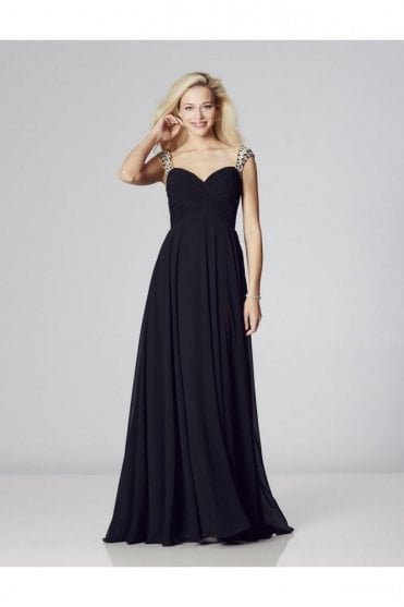Black Sonia Chiffon Dress with crystal straps