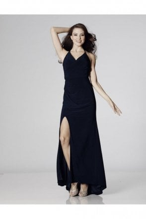 Black Tara Crossover Back Evening Dress