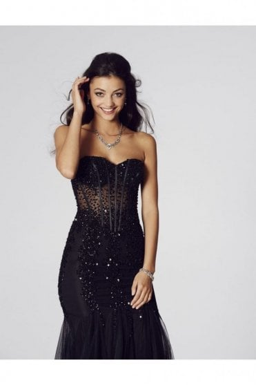 Black Tiffany Eliza Sweetheart Strapless Prom Dress