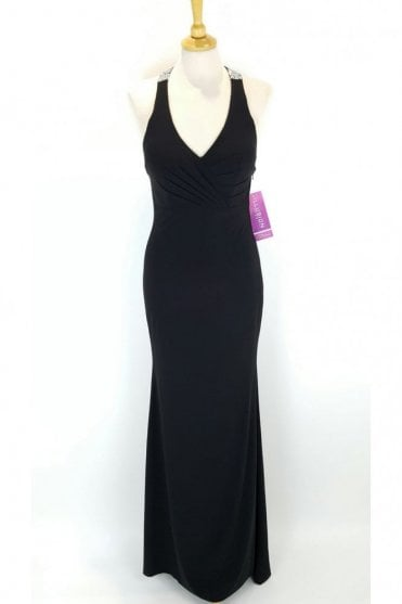 Black Vicky Jersey Halter neck dress