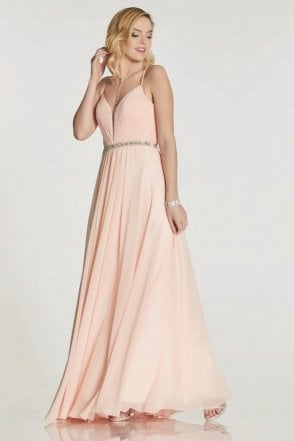 Blush Adriana chiffon gown with beaded waist