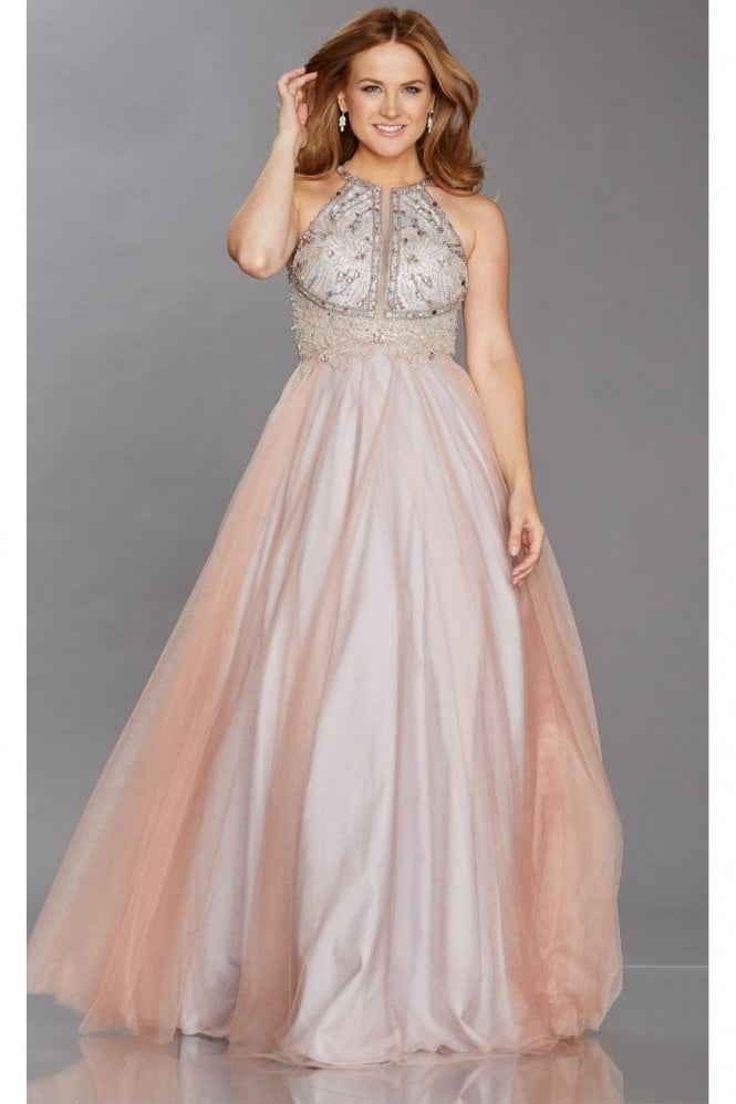Tiffanys Illusion Prom Blush/Gold Nicola Beaded Bodice Net Overlay Dress