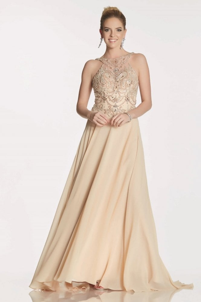Tiffanys Illusion Prom Champagne Rosalie beaded bodice chiffon dress