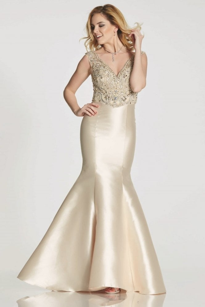 Tiffanys Illusion Prom Champagne Tamzen fishtail dress with jewelled bodice
