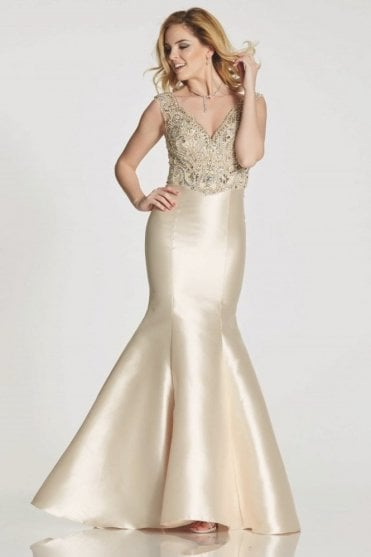 Champagne Tamzen fishtail dress with jewelled bodice