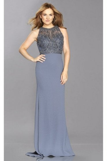 Charcoal Kelsie Tiffany Illusion Open Back Beaded Top Gown