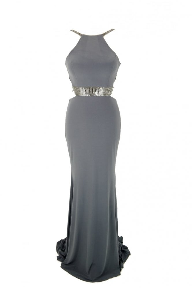 Tiffanys Illusion Prom Charcoal Lorna bead detailed open strap back dress