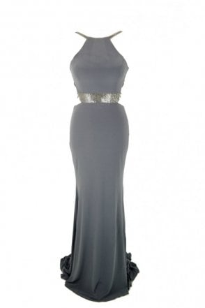 Charcoal Lorna bead detailed open strap back dress