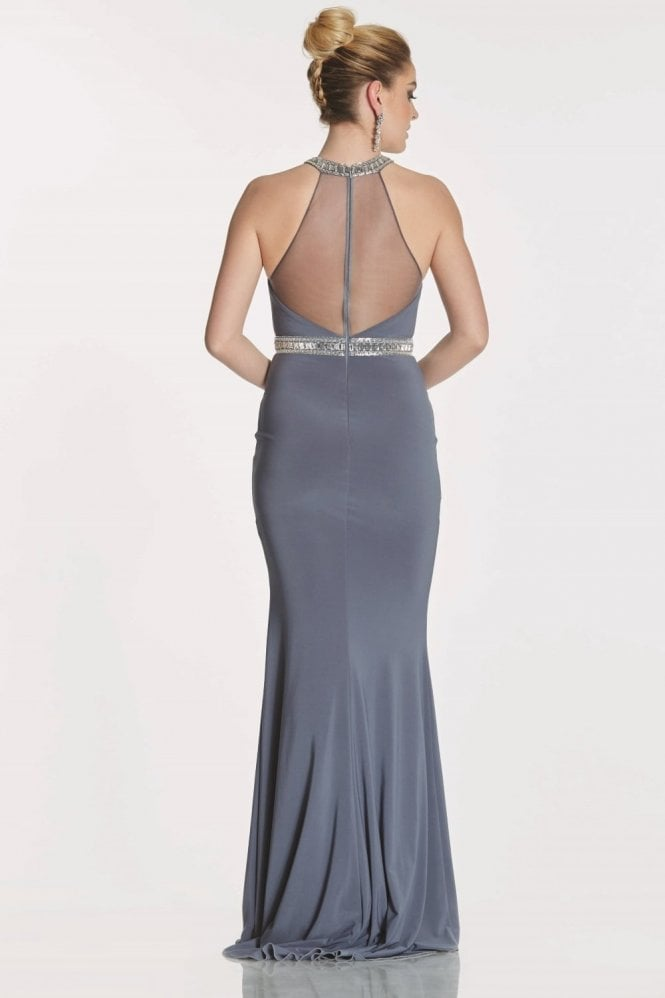 Tiffanys Illusion Prom Charcoal Porsha jersey halter dress with crystal neck