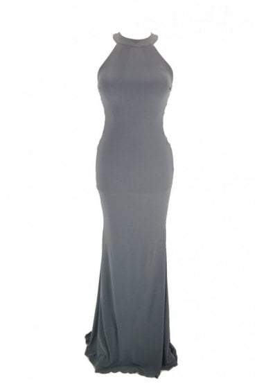 Charcoal Skyler halter neck cross strap side dress