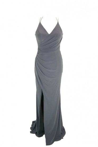Charcoal Tara crossover back evening dress