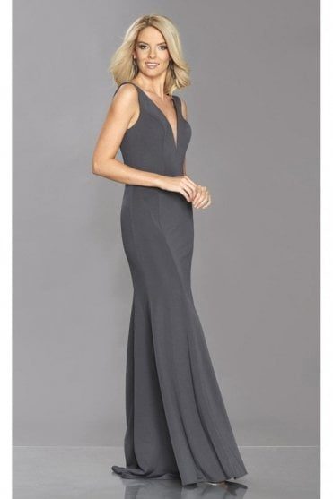 Charcoal Zara V shaped neck & back dress