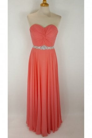Coral Amanda Chiffon Strapless Evening Gown